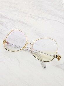 Lunettes cadre contrasté lentille ovale décoré avec des perles fausses