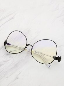 Contrast Frame Oval Lens Glasses With Faux Pearl