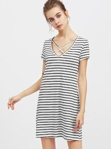 Crisscross V Neck Striped Tee Dress