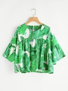 Gesmockte Bluse mit Palmblattmuster und Reißverschluss hinten