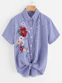 Embroidery Tie Hem Striped Shirt