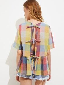 Multi Checkered Split Back Tie Detail Smock Blouse