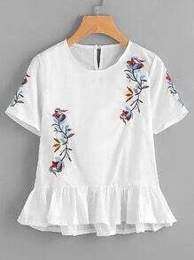 Embroidery Frill Hem Blouse