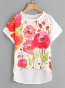 Florals Dip Hem Chiffon Top