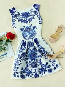 Porcelain Print Embossed Fit & Flare Dress