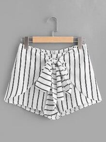 Striped Bow Tie Front Zipper Shorts