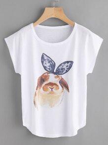 T-Shirt mit Hasenmuster und Kappeärmeln