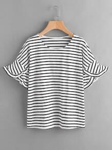 T-Shirt mit Streifen und Falten