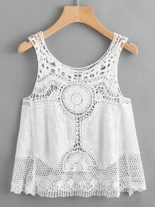 Hollow Out Crochet Embroidery Tank Top