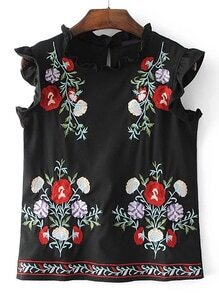 Frill Trim Embroidery Sleeveless Top
