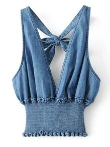 Plunging V-Neckline Knot Back Elastic Waist Denim Top