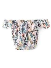 Schulterfreie Bluse mit Blattmuster