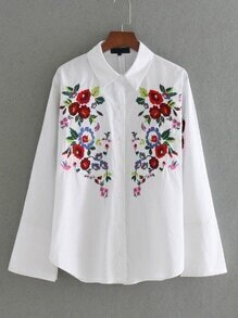 Bell Sleeve Flower Embroidery Blouse