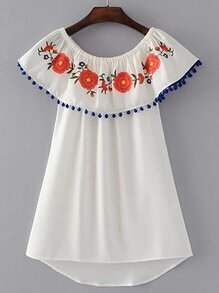 Boat Neckline Pom Pom Trim High Low Dress