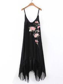 Cami Straps Fringe Hem Embroidery Asymmetrical Dress
