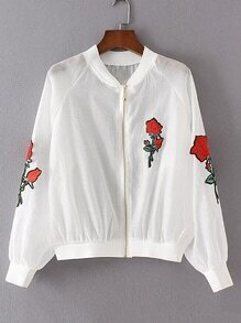 Raglan Sleeve Rose Embroidery Jacket