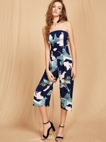 Bardot Tropical Print Backless Jumpsuit