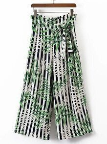 High Waist Contrast Striped Wide Leg Pants