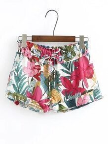 Drawstring Waist Flower Print Shorts
