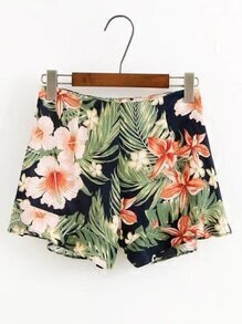 Flower Print Zipper Side Shorts