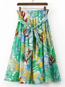 Tie Waist Tropical Print A Line Skirt