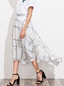 Grid Asymmetrical Hem Skirt
