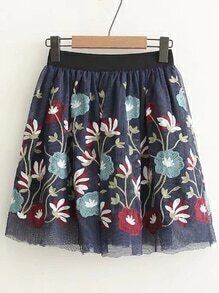 Elastic Waist Embroidery Mesh Skirt