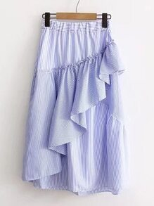 Vertical Striped Frill Trim Skirt