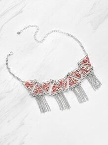 Rhinestone Triangle Decorated Necklace With Fringe