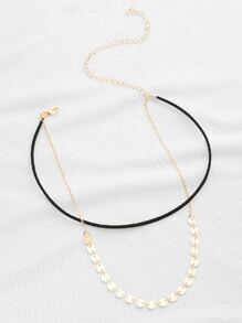 Sequin Decorated Double Layer Necklace