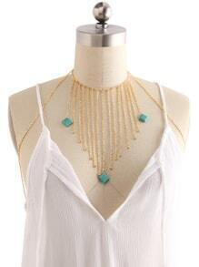Geometric Turquoise Detail Chain Tassel Body Harness