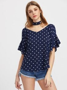 Double V-neckline Frill Cuff Polka Dot Top With Choker