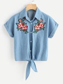 Rose Embroidered Patch Knot Front Cuffed Shirt