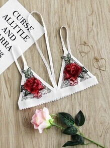 Halter Neck Rose Embroidered Applique Lace Cami Bralet