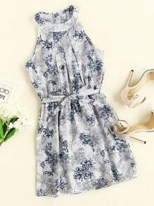 Floral Print Random Pleated Dress With Belt