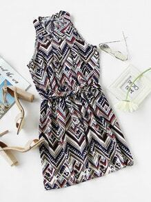 Geo Print Random Pleated Dress With Belt