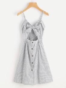 Cami Kleid mit Streifen, Schneiden und Schleife vorne