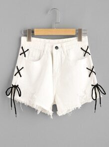 Destroyed Fray Hem Eyelet Lace Up Side Shorts