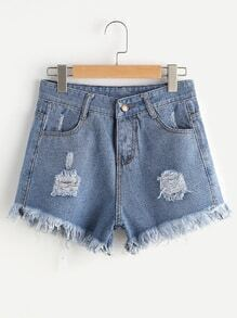 Distress Fray Hem Denim Shorts
