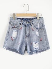 Embroidered Destroyed Raw Hem Denim Shorts