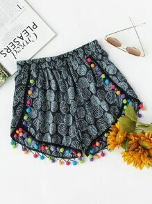 All Over Printed Pom Pom Trim Shorts