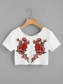 Rose Applique Criss Cross Back Ribbed Crop Tee