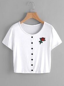 Rose Patch Button Front Tee