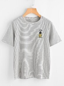 Pineapple Embroidered Striped Tee