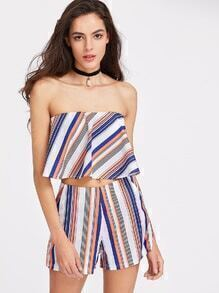 Striped Bandeau Top And Shorts Set