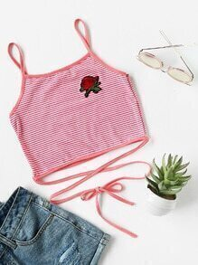Rose Patch Striped Self Tie Cami Top