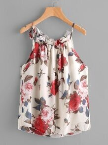 Floral Print Frill Trim Cami Top