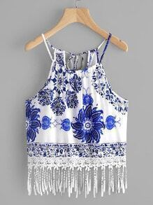 Printed Random Self Tie Back Lace Hem Cami Top