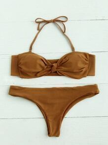 Knot Front Bandeau Bikini Set