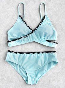 Contrast Trim Wrap Bikini Set